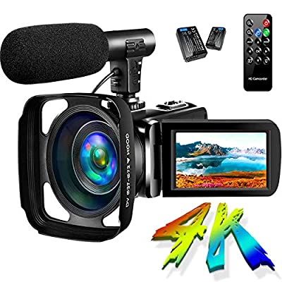Camcorder Video Camera 4K 30MP Digital Camcorder Camera with Microphone Ultra HD Vlogging Camera with Remote Control Rotatable 3.0 in Touch Screen (V14) from SAULEOO