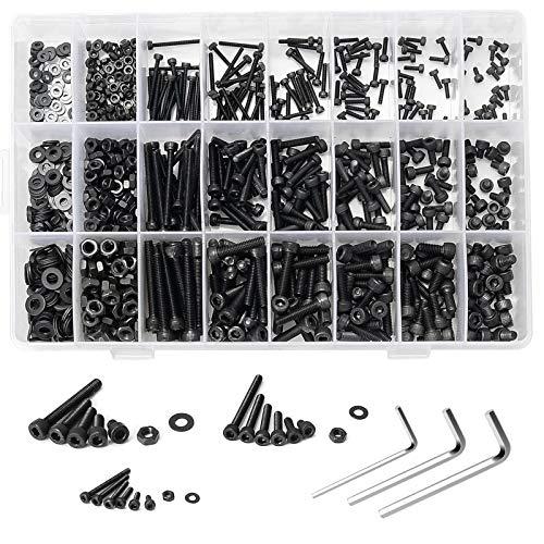 ZITFRI Schrauben Set 1100pcs M2 M3 M4 Kohlenstoffstahl Sechskopf Knopf Schrauben Muttern und Unterlegscheiben Set, Sortiment Kit mit 3 Inbusschlüsseln in Aufbewahrungsbox