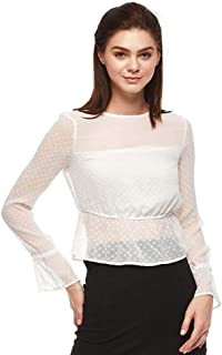 Bershka Ruffle & Peplum Tops For WOMEN, WHITE, Size XS