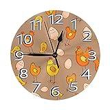 掛け時計 壁掛け時計 かわいい鶏の雛 かけ時計 おしゃれ 耐久性 静音 音無し シンプル デザイン 連続秒針 電池式 直径25cm 寝室 部屋装飾 オフィス 丸形 時計