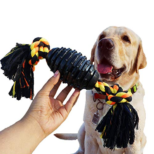 Durable Dog Chew Toys for Aggressive Chewer, Combine Ball Rope Dog Toy 13.5 Inch Nearly Indestructible Dog Toy with Convex Design for Puppy Small Medium and Large Dogs