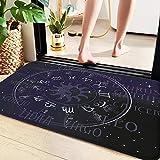 Alfombra de baño 60x100 cm,Astrología, signo del zodiaco del horóscopo en forma de rueda de ,Suave y acogedora, Agua súper Absorbente, Antideslizante, Gruesa para Dormitorio de baño, Lavable a máquina