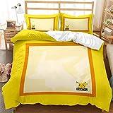 Juego de funda de edredón, diseño de Pokemon Pikachu en 3D, suave y cómodo para niños, funda de edredón de 200 x 200 cm + 2 fundas de almohada de 50 x 75 cm.