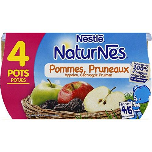 Nestlé - Naturnes - Petits pots aux pommes et pruneaux, dès 4-6 mois - Les 4 pots de 130g - (pour la quantité plus que 1 nous vous remboursons le port supplémentaire)