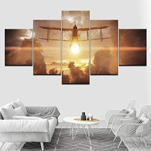 XIAYF 5 Panel Wall Art Wings Glider Sunset Landscape Background Painting Pictures Prints On Canvas The Picture For Home Modern Decoration Piece Wooden Frame Ready To Hang