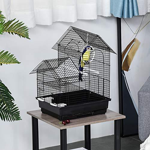 Pawhut Jaula para Pájaros de Metal con Comederos Perchas Columpio y Bandeja Extraíble para Canarios Periquitos 39x34x47 cm Negro
