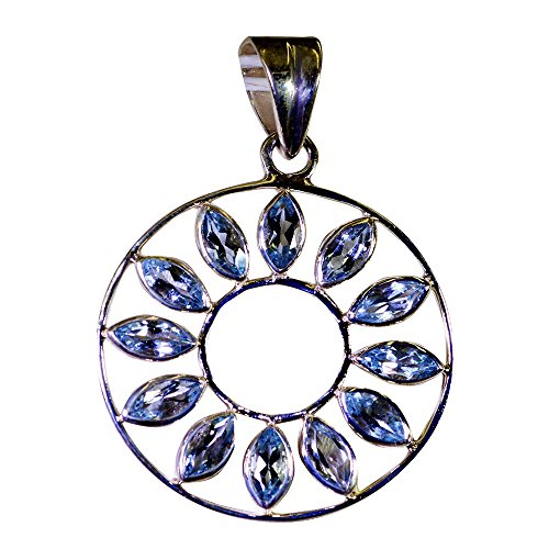 Gemsonclick - Colgante de topacio Azul para Mujer, diseño de Piedra Natal de diciembre