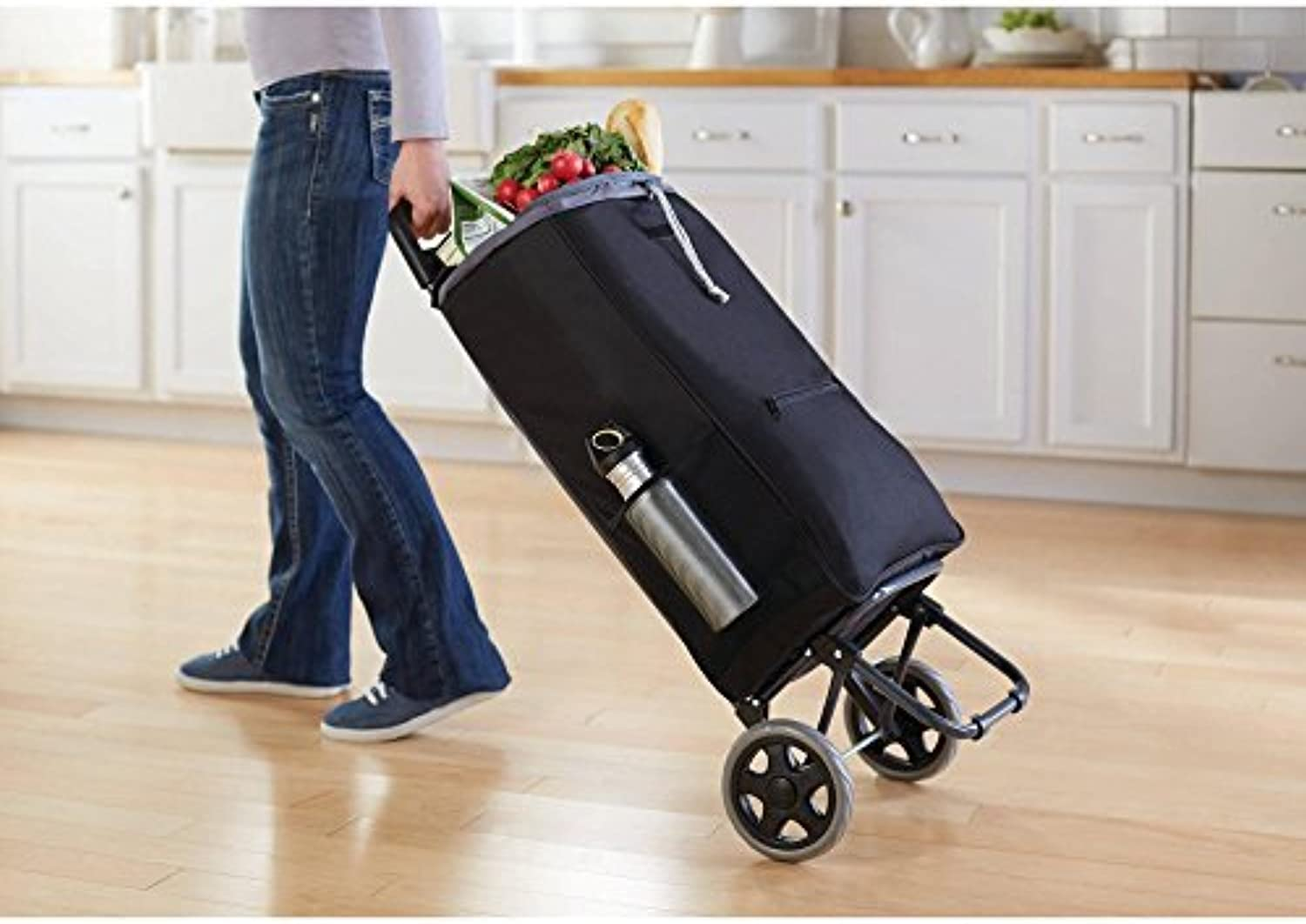 Mainstay Shopping Cart with Concealed zipper & side pocket for additional storage by Mainstay