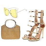 AELEGASN Sandalias de Charol Dorado y Bolso de Diamantes de Imitación con Gafas de Sol Bolso de Noche de Diamantes de Imitación con Tacones Altos y Gafas de Sol Polarizadas,39