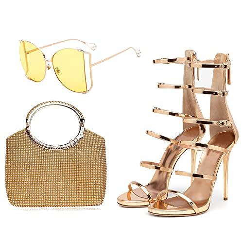 AELEGASN Sandalias de Charol Dorado y Bolso de Diamantes de Imitación con Gafas de Sol Bolso de Noche de Diamantes de Imitación con Tacones Altos y Gafas de Sol Polarizadas,41