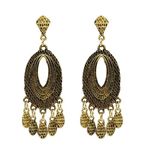 Pendientes nuevos retro pendientes de borla geométrica de estilo étnico retro-A oro