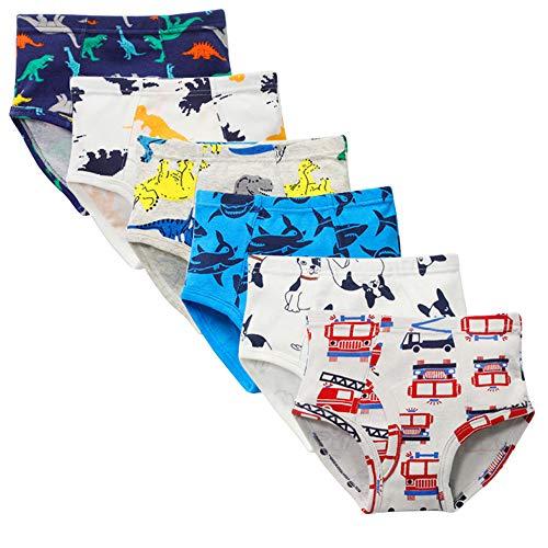 Kidear Unterwäsche für Kinder, weiche Baumwolle, für Jungen, verschiedene Muster, 6er-Packung Gr. 2-3 Jahre , Stil 5