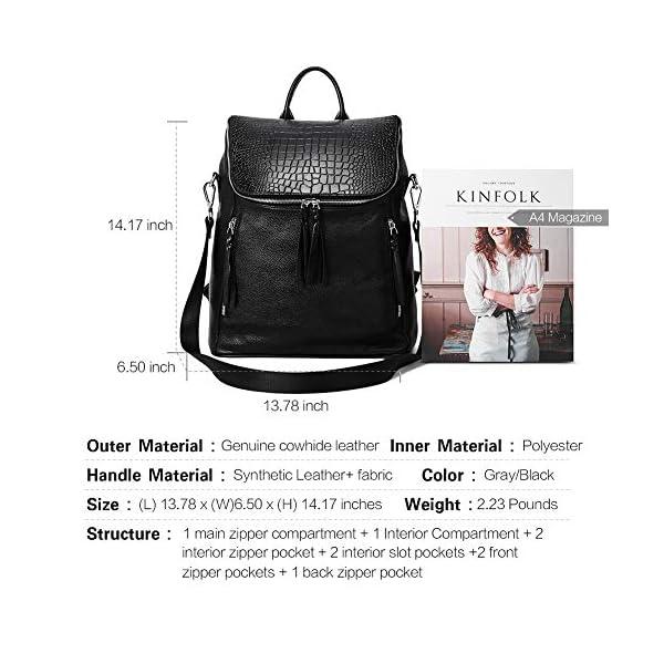 CLUCI Genuine Leather Women Backpack Purse Fashion Large Designer Travel Ladies Shoulder Bag 3