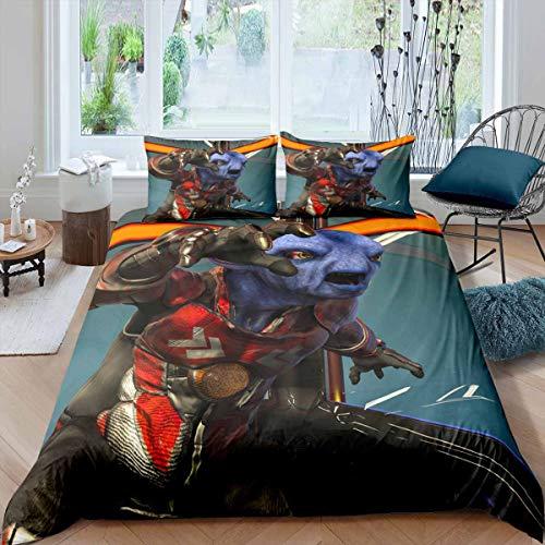 Manfei Cartoon Animal Comforter Cover Set Purple Monster Decor Duvet Cover 3D Printed Bedding Set 3pcs for Kids Boys Children Soft Polyester Quilt Cover with 2 Pillow Cases(No Comforter) King Size