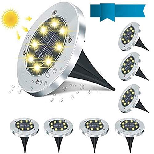 8 Stück Solar Bodenleuchten,8 LEDS Solarleuchten für Außen, 6000K Gartenleuchten IP65 Wasserdicht Warmweiß Solarlampen Solarlicht Garten Licht für Rasen/Auffahrt/Gehweg/Patio/Garden