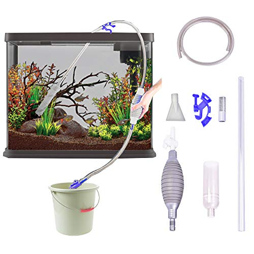 Lopbraa Gravel Vacuum for Aquarium Fish Tank Vacuum Gravel Sand Cleaner Siphon Water Changer for Cleaning Tools Kit with Adjustable Water Controller(5.6FT, Gray)
