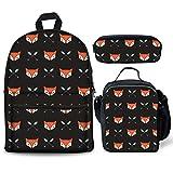 Cartoon Fox - Juego de 3 mochilas para el almuerzo con diseño de zorro y flecha, para niños y niñas