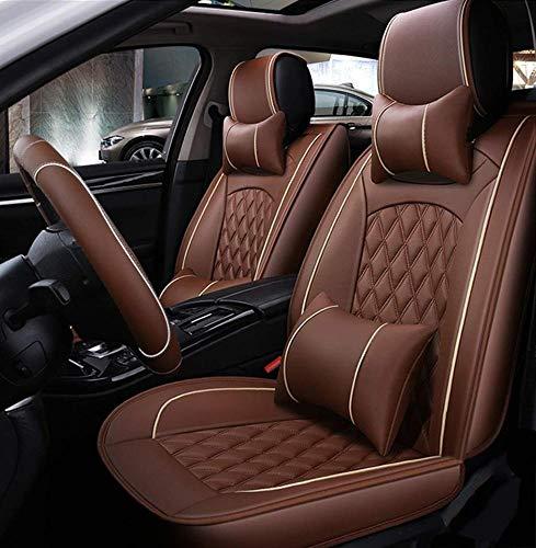Ededi Leder Sitzbezüge-Set, Universal Gitter Autositzbezüge Set Voll Auto Vorderseite Und Rückseite, 9-Teiliges Set,Brown