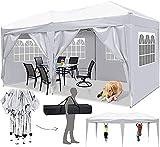 Faltpavillon 3x3/3x6 Pavillon Wasserdicht Gartenpavillon UV Schutz Faltpavillon mit 4 Seitenteilen Festival Partyzelt Sonnenschutz Pavillon für Strand / Garten / Hochzeit / Camping (3x6M, Weiß)