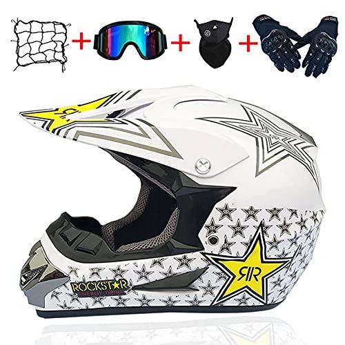 LIULIFE Casco Motocross Casco De Descenso Cascos De Cross De Moto NiñOs con DiseñO Fox para BMX ATV Downhill Dirt Bike Quad Moto Quad Off Road ATV