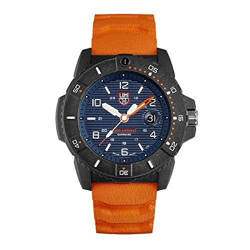 Luminox Navy Seal Herren-Armbanduhr, 45 mm, blaues Display, orangefarbenes Band (XS.3603/3600 Serie): 200 m wasserdicht, gehärtetes Mineralglas + leichtes Karbongehäuse
