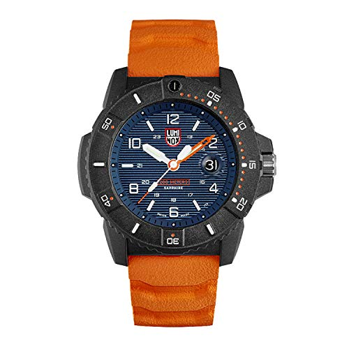 Luminox Navy Seal Mens Watch 45mm Blue Display Orange Band (XS.3603/3600 Series): 200 Meter Water Resistant + Hardened Mineral Glas + Light Weight Carbon Case