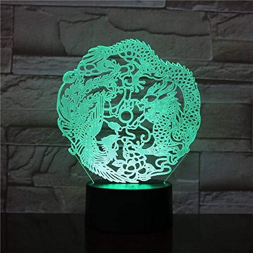 Linterna Mágica 3D Luz De Noche Led Decoración De Ambiente Lindo Características Chinas Dragón Y Fénix Siete Colores Con Control Remoto Lámpara De Mesa Estupenda