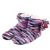 Laoling Zapatillas de Piso de Interior de Mujer de Suela Suave cálida para Mujer Zapatos de Flores de Ganchillo Zapatillas de casa Zapatos de Regalo de Invierno Purple 11