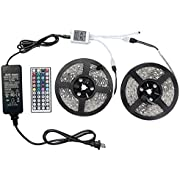 WenTop Led Strip Lights Kit DC12V UL Listed Power Supply SMD 5050 32.8 Ft (10M) 300leds RGB 30leds/m with 44key Ir Controller for TV Backlighting, Kitchen Counter, Under Bed Lighting