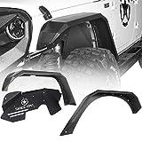 Hooke Road Steel Flat Fender Flares + Front Inner Fender Liners Kit Compatible with Jeep Wrangler JK & Unlimited 2007-2018 2/4 Doors