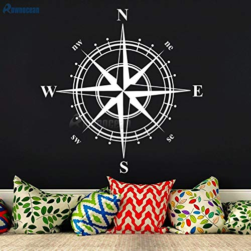 mlpnko Año Nuevo decoración náutica para el hogar brújula Arte Pegatinas de Pared habitación Infantil Vinilo Impermeable 102x102 cm