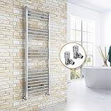ELEGANT Chrome Straight Towel Radiator Bathroom Heated Towel Rail Radiators with Angled Radiator Valves 1500 x 500 mm