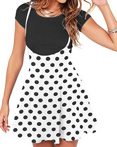 Yoins - Minifalda Kawaii para mujer, corte en A, estilo skater Punto de color blanco. S