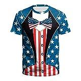 MIRRAY Nouveau Etats-Unis Drapeau T-Shirt Hommes Sexy 3D T-Shirt Impression Rayé T Chemise Été Hauts TeesBleu 3XL