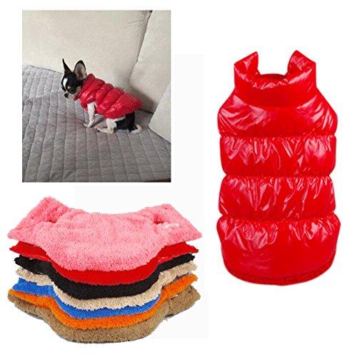 Kismaple Manteau imperméable pour Chien Veste d'hiver rembourré matelassé Doudoune pour Chien Pet Chiot vêtements Assortis Rouge XS Poitrine: 26-28CM
