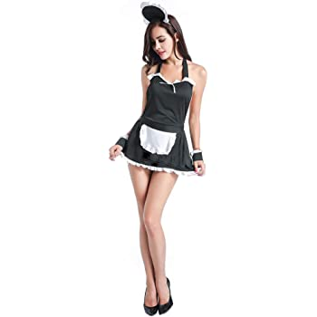 GEMVIE Disfraz de Mujer Vestido Cosplay Criada Sirvienta Sexy ...