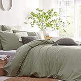 Lanqinglv Bettwäsche 135x200cm 2teilig Hellgrün,Grün Uni Bettbezug Deckenbezug 135x200cm mit Reißverschluss und Kissenbezug 80x80cm aus Renforce Microfaser