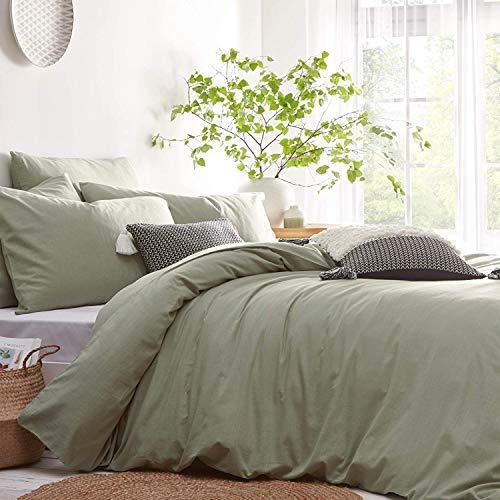 Lanqinglv Bettwäsche 200x220cm Hellgrün Grün Microfaser Bettwäscheset Uni Unifarben Doppelbett Bettbezug mit Reißverschluss und 2 Kissenbezüge 80x80 cm - Romantisch und Elegant