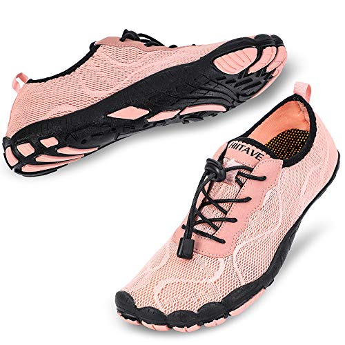 hiitave Women Water Shoes Barefoot Beach Aqua Socks Quick Dry for Outdoor Sport Hiking Swiming Surfing Light Pink 9.5/10 M US Women