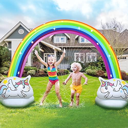 EagleStone Giant Inflatable Rainbow Sprinkler for Kids, Summer Water Park Sprinkler for Backyard, Yard, Outdoor, Outside Party