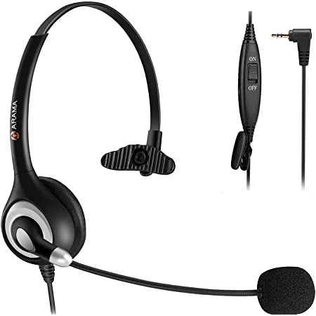 Arama Phone Headset 2.5mm with Noise Canceling Mic & Mute Switch Ultra Comfort Telephone Headset for Panasonic AT&T Vtech Uniden Cisco Grandstream Polycom Cordless Phones