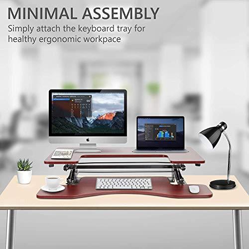 Halter Height Adjustable Stand Up Desk Pre-Assembled Sit or Stand Workstation, Elevating Desktop Riser, 36 Inches (Cherry)