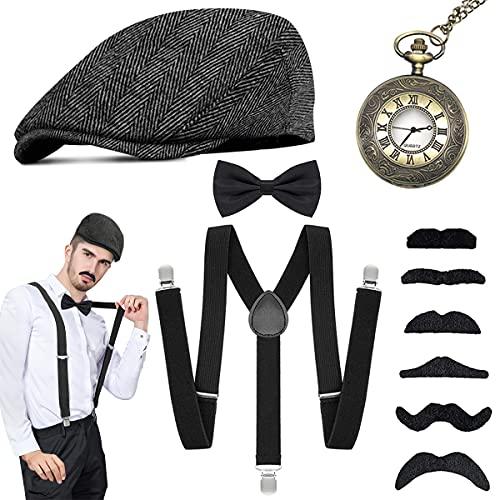 WEARXI 20er Jahre Herren Accessoires - Kostüme Herren Hosenträger Herren Kostüm Set, Hut, Halsschleife Taschenuhr, Schnurrbart & Spielzeug Ideal Kostüme für Partys