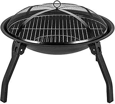 Glacie BBQ Camping Steel Fire Pit Bowl, Round Fire Pit Large Fire Pit Steel Folding Outdoor Garden Patio Heater Grill Terrace Heating Barbecue Burning Stove for Patio BBQ Camping Bonfire from Glacie