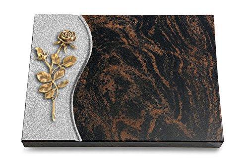 MEMORUM Grabmale Grabtafel, Grabplatte, Grabstein, Grabkissen, Urnengrabstein, Liegegrabstein Modell Wave 40 x 30 x 3-4 cm Aruba-Granit, poliert inkl. Gravur (Bronze-Ornament Rose 13)