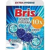 Bris Blue Fresh Power Limpiador WC - Limpiador para Inodoro, Piedra Fresca, Antical, Antisuciedad, Extrafresco, Pack de Ahorro, 10x55g