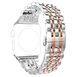 PUGO TOP Band Replacement for apple watch 44mm Series 6 5 4 SE 42mm iPhone Watch iWatch Replacement Bands Series 3/2/1 2 Tones for Women Men (42/44mm, Rose Gold)