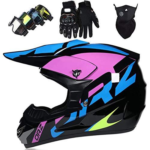 Casco MTB de cara completa con máscara, guantes, máscara, casco de motocross, casco de motocicleta para adultos jóvenes para motocicleta todoterreno, quad, descenso, MX, ATV