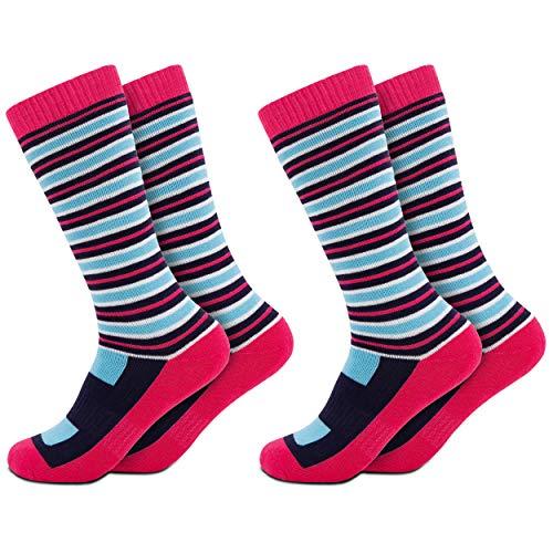 Occulto 2 Paar Kinder Skisocken   Kniestrümpfe für Jungen und Mädchen   Warme Kinder Winter Thermo Socken Größen 23-38   Winter Sportsocken für Kinder (27-30, Rosa)