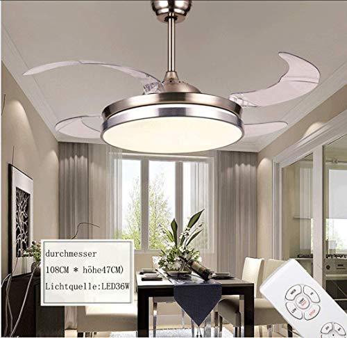 LBYLYH Deckenventilator Mit Beleuchtung Turbo Swirl, Fernbedienung Für Deckenventilatoren,Mit Dimm-Funktion, Ventilator Lampe Mit 5 Klingen,2